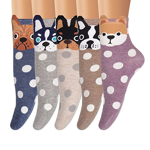 AMKMAX Women Socks Cute Animal Socks Patterned Colorful Funny Novelty Casual Cotton Crew Socks