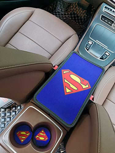 STORE-OK Car Center Console Pad and 2pcs Car Cup Holder Coaster Kit, Universal fit Comfortable Center Console car armrest pad, Stylish Pattern Design car armrest Cover (Superman)