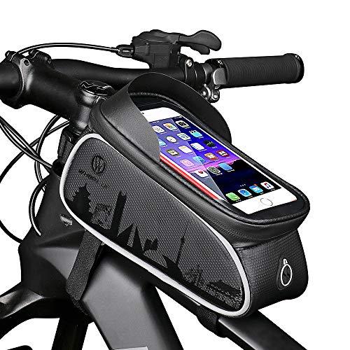 HEKIWAY Bike Frame Bag Impermeable bicicleta Bolsa para bicicleta Bolsa de almacenamiento de gran capacidad con orificio para auriculares para cualquier teléfono inteligente de menos de 7 pulgadas