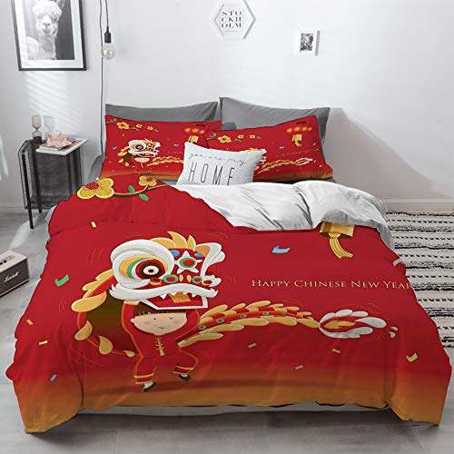 3 Piece Duvet Cover Set No Wrinkle Ultra Soft Bedding Set,Chinese New Year,Little Boy Performing Lion Dance with The Costume Flowering Branch Lan,2 pillowcase 50 x 75cm 1 Pc Bed sheet 260 x 220cm