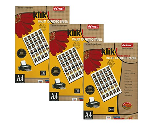 Desmat Glossy Photo Paper For Inkjet Printers A4 Size, 3x20=60 Sheets, 180gsm