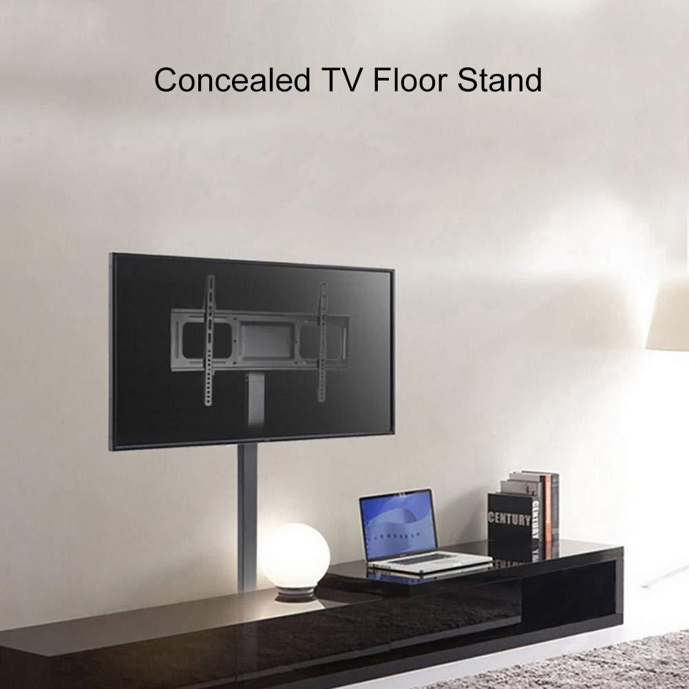 Soporte TV Piso Negro con Altura de Montaje Ajustable, estantes de ...