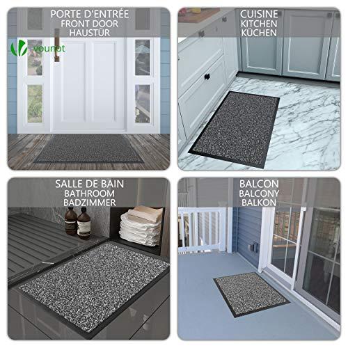 VOUNOT Felpudo Entrada casa, Alfombra Exterior para Puerta, Impermeable Antideslizante Lavable, Alfombra para Interior y Exterior, 90x150cm, Antracita