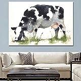 ganlanshu Rahmenlose Malerei HD Abstrakte Kuh, die Tierölgemälde Leinwand Pop Art HangingCGQ7101 weidet 40X60cm