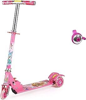 Scooter para niños Scooter Slider de Tres Ruedas Flash Scooter Bicicleta Plegable Ajustable para niños Regalo (Color : Pink)