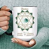 Tazza da caffè con pietra zodiacale del toro e segno zodiacale del chakra, costellazione e treni del toro malachite