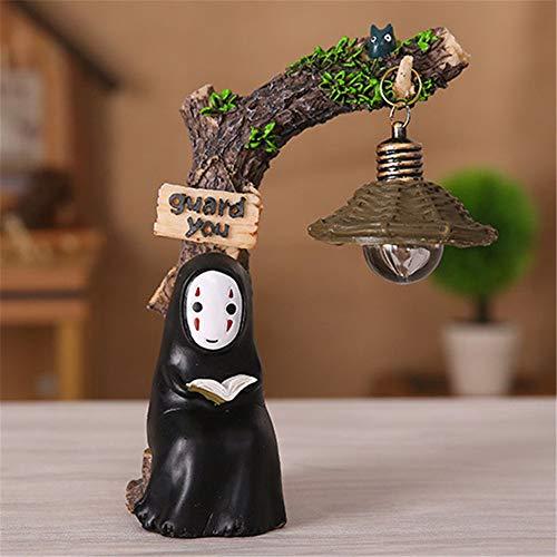 Kimkoala Spirited Away Figuren, niedliche Studio Ghibli Miyazaki Kein Gesicht Mann mit Nachtlicht Action Figur Spielzeug für Kinder Geschenk für Haus Garten Dekoration Reading