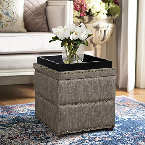 Edeco Modern Nailhead Storage Ottoman with Tray Top Square Script Ottoman Space-Saving Coffee Table, Grey