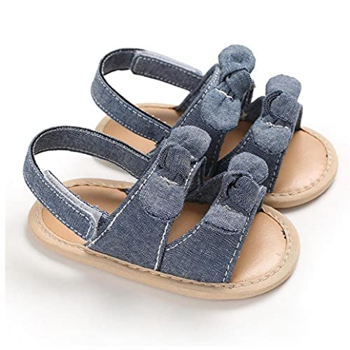 Yililay Zapatos niña Sandalias Precioso algodón Suave Punta Abierta Suela Antideslizante de Verano para niños pequeños Azul 3-6M