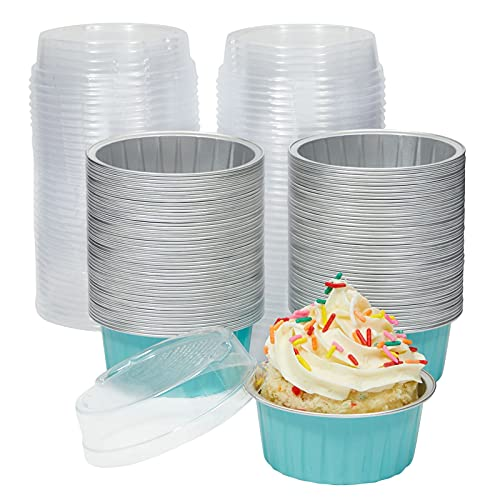 Foil Dessert Ramekins with Lids, Cupcake Baking Cups for Parties (Blue, 5 oz, 100 pack)