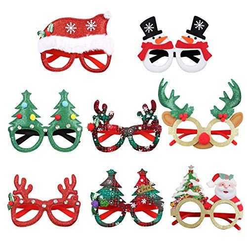 Christmas Glitter Party Glasses Frame with 8 designs for Christmas Parties Suppies Holiday Favors Photo Booth,8pcs