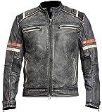 Men's Vintage Motorcycle Cafe Racer Retro Moto Distressed Leather Jacket, B. Retro 2 Faux Leather, Medium