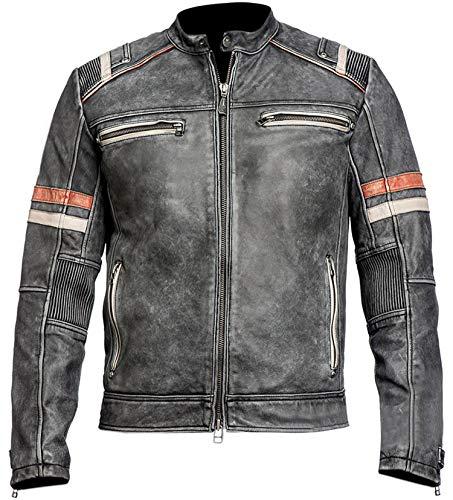 Men's Vintage Motorcycle Cafe Racer Retro Moto Distressed Leather Jacket | Cafe Racer Jacket Men Motorcycle