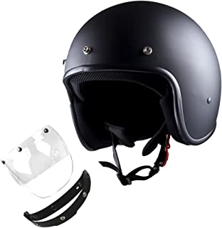 1STorm Motorcycle Open Face Helmet Mopeds Scooter Pilot Half Face Helmet with Detachable Clear Shield, Matt Black