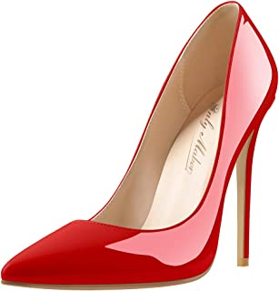 Onlymaker Women's Classic Pointed Toe Genuine Leather High Heels Slip On Stiletto Pumps Dress Basic Shoes Size4.5-15