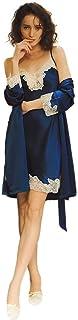 100% Seda Batas Mujer Sexy Encaje Conjuntos Mujer Camisón Lencería Pijama de Seda Cuello V Ropa Dormir Azul Marino