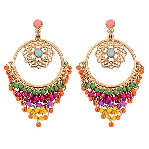 Amesii - Orecchini da donna in stile boho, con perline colorate