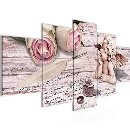 Cuadro en Lienzo Flores ángel 200 x 100 cm - XXL Impresión Material Tejido no Tejido Artística Imagen Gráfica Decoracion de Pared - 5 piezas - Listo para colgar - 005751b