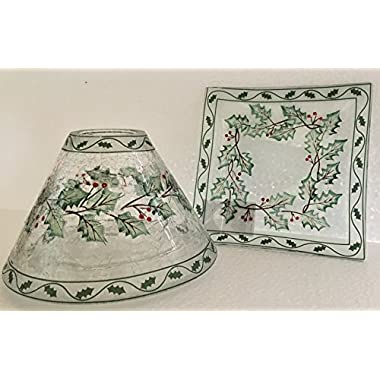 Yankee Candle Square Hand Painted Ivy Candle Jar Shade/Topper and Tray/Plate