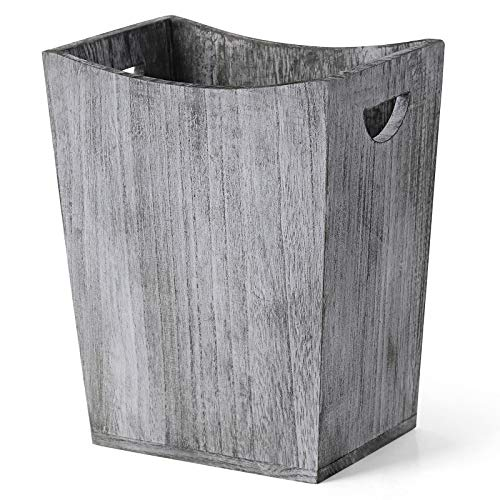 Wood Wastebasket Farmhouse Style Rustic Wood Trash Can with Handle Modern Durable Waste Bin Wooden Country Style Garbage Container Bin Recycling Bin for Bathroom Office Bedroom Living Room