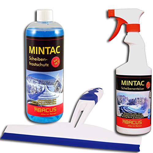 MINTAC Abzieher SET - 1x 1000 ml MINTAC Scheibenfrostschutz + 1x 750 ml MINTAC Scheibenenteiser + 1x Abzieher mit Doppellippe Eisfrei Enteiser Scheibenreiniger Glasreiniger Eislöser Spiegelreiniger