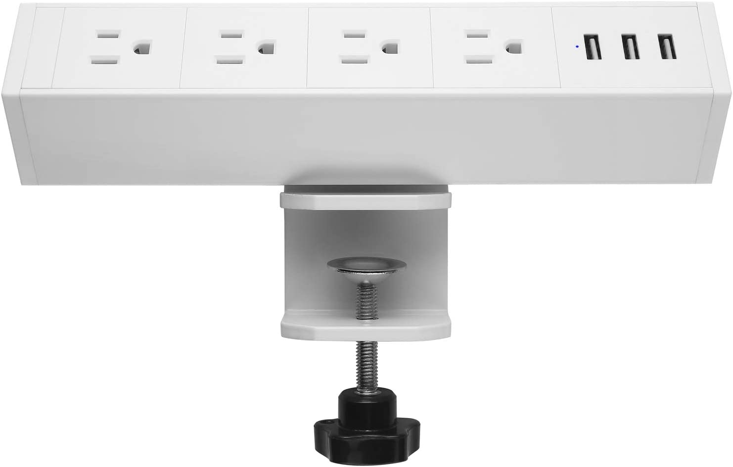 CCCEI Metal Desk Mount Clamp Power Strip, 4 Outlet Power Strip with USB Ports, 380J Surge Protector Desktop Outlet, Fit 1.8 inch Tabletop Edge Thick. 6FT Power Cord. (White)
