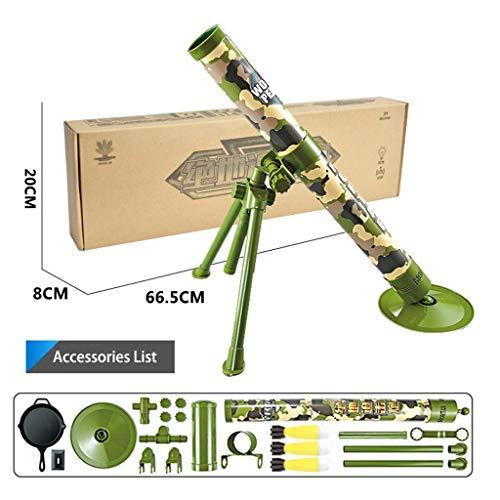 Kids Military Mortel Toy, 3 Veiligheid LED Foam Shells, Self Launching Afstand 5 meter, Best Gift for Kids Om de simulatie Military War Games,Green