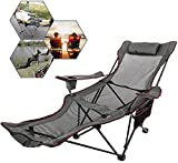 Patiolife Portable Chair with Footrest Mesh Gray - Folding Reclining Chair with...