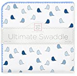 SwaddleDesigns Ultimate Winter Swaddle, X-Large Receiving Blanket, Made in USA, Premium Cotton Flannel, True Blue Jewel Tone Little Chickies (Mom's Choice Award Winner)