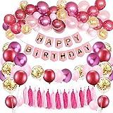 SPECOOL Decoración de cumpleaños para niña, Rosa Feliz cumpleaños Conjunto,Globos de Látex Confeti Globos Metálicos Suministros de Fiesta de Cumpleaños para Niños Decoración Chica Novia