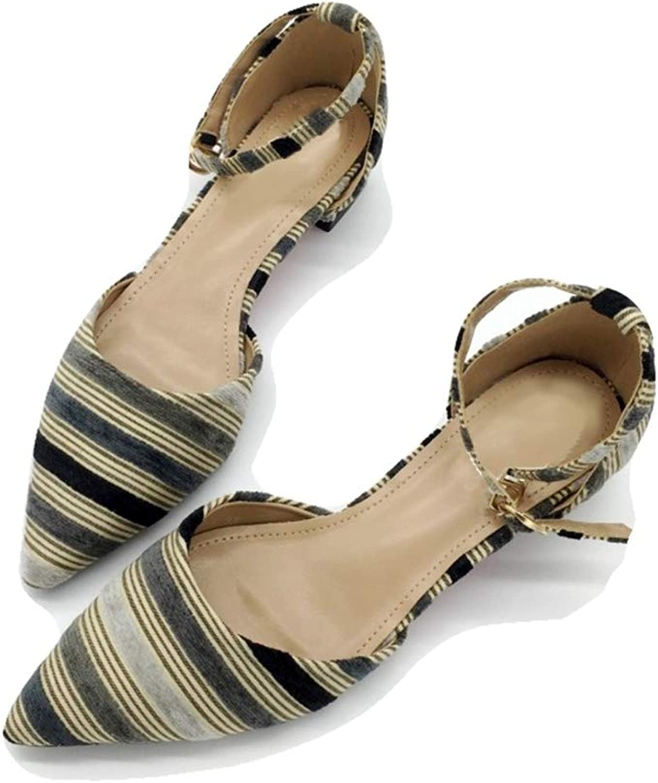August Jim Women Flats shoes,Stripe Shallow Square Heel Buckle Strap Ladies Dress shoes