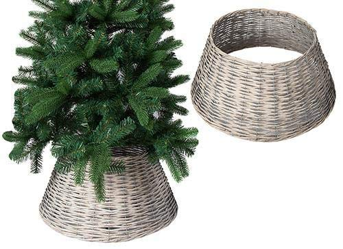 ALT90 Christmas Willow Tree Skirt Base Cover Grey Brown silver Wicker Decoration [Grey (70cm Base)]