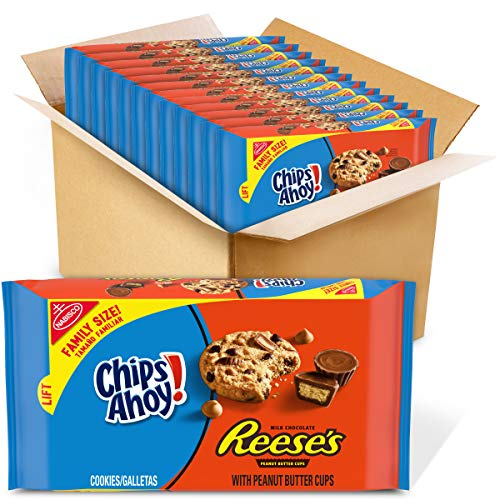 Chips Ahoy! Cookies with Reese's Peanut Butter Cups Family Size 14.25 oz Packs, Chocolate Chip, 12 Count