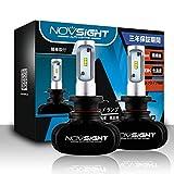 NOVSIGHT H7車用ledヘッドライト 50W(25Wx2) 8000LM(4000LMx2) 6500K ファンレス ホウイト 2個セット 3年保証