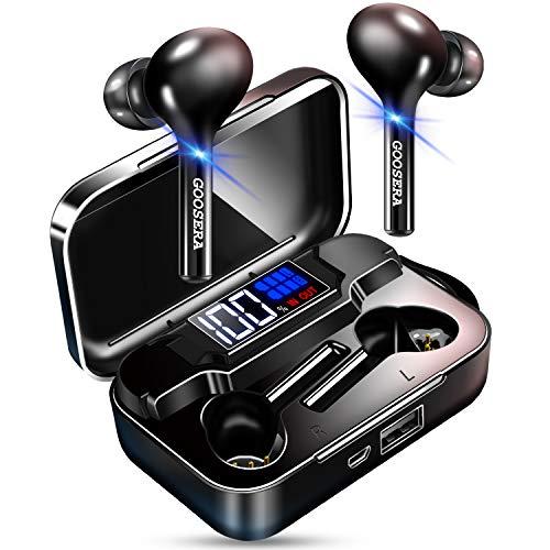 【第二世代 Bluetooth5.0 シリコンストラップ付】 Bluetooth イヤホン スポーツ 自動ペアリング LEDディスプレイ電量表示 ワイヤレス イヤホン IPX7完全防水 CVC8.0ノイズキャンセリング&AAC対応 ブルートゥース イヤホン