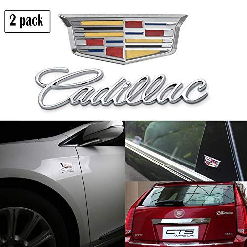 2Pcs 3D car ABS Letter Sticker Decal Head Car Side Fender Rear Trunk Emblem Badge Sticker Decals for Cadillac