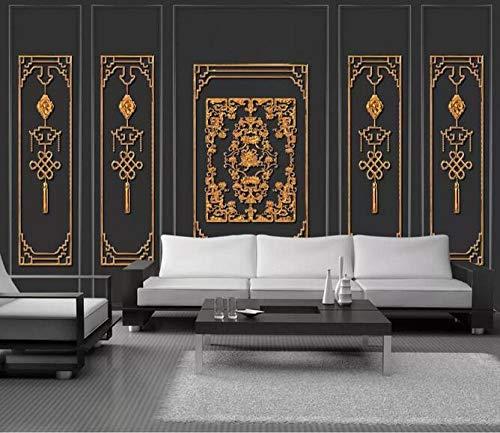 Wandbild Tapete 3D Poster Malerei 3D dreidimensionale europäische Gold Metall Schmiedeeisen Fenster Dekoration Gitter Wandbild 250cmx175cm (98,4x68.9inch) Tapete Dekoration Malerei Wandmalerei oi