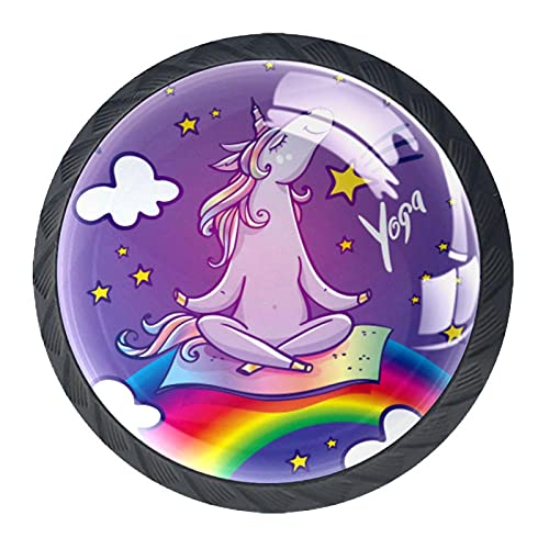 Manopole in vetro cristallo per credenza, cassetti e cassetti, con viti, per cucina, comò, armadietto, bagno, guardaroba, unicorno seduto sul ponte arcobaleno (4 pezzi)
