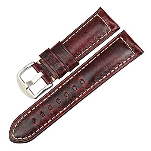 Correa de Reloj Rojo 20mm 22mm 24mm Reloj del Cuero de la Correa del Reloj de la Vendimia de la Banda Hombres Mujeres Correas de Reloj, Rojo S, 24mm