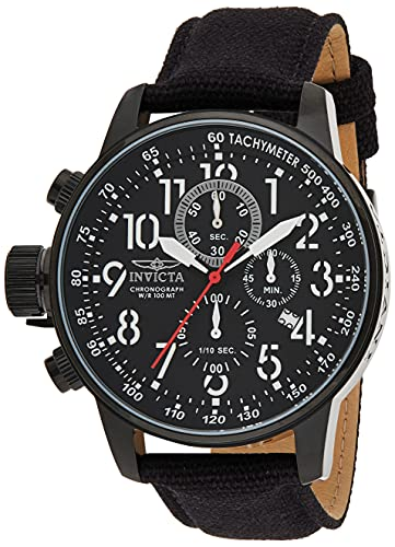 Invicta Men's I Force Black Stainless Steel Quartz Watch with Canvas Strap, Black (Model: 1517)