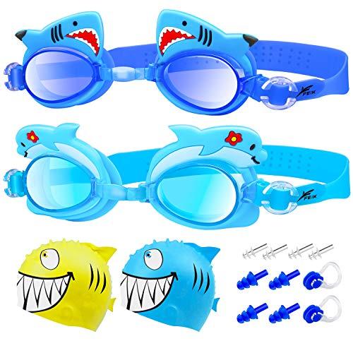 Omew Kinder Schwimmbrille 2 Stücke Antibeschlag UV Schutz Wasserdicht weich Silikon Lecksicher Größenverstellbar mit Ohrstöpselsets Nasenklammern und Badekappen