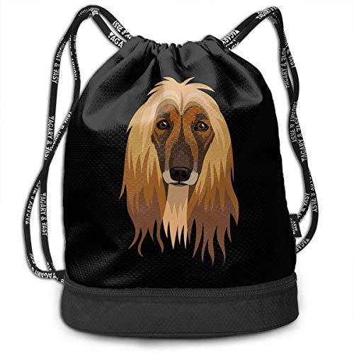 HFXY Kordelzug Rucksack Afghan Hound Fashion Sports Gym Sackpack Multifunktionale Schulter Schnur Taschen