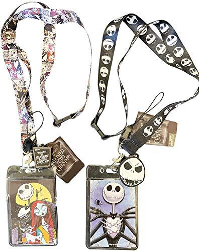 Nightmare Before Christmas ID School Office Lanyard Badge Holder Charm Pendant Bundle: One of Jack Skellington and Sally Plus One Jack Skellington