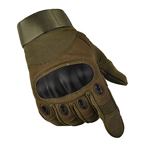 GERZ Guantes Pantalla Táctil Tactico Ciclismo Caza Escalada Guantes Militar Antideslizante 3color verde ,negro , camer. (guantes verde L)