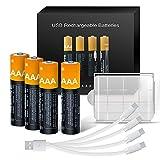 【Hohe Kapazität 750mWh】: Kamnnor wiederaufladbare Lithium AAA-Akkus mit jeweils 750 mWh, Ladespannung 5V und konstanter Ausgangsleistung mit 1,5V direktem USB-Schnellladen. Unsere wiederaufladbaren AAA-Akkus halten mindestens 20% länger als alle ande...