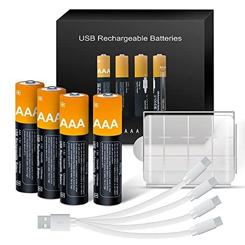 AAA Akkus Lithium Batterie, Kamnnor Wiederaufladbar Batterien 1,5 V Lithium-Ionen 750mWh, 1.5H-Schnellladung, mit 4-in-1 USB Typ-C Ladekabel und Aufbewahrungskoffer, Vorgeladen, 4 Pack