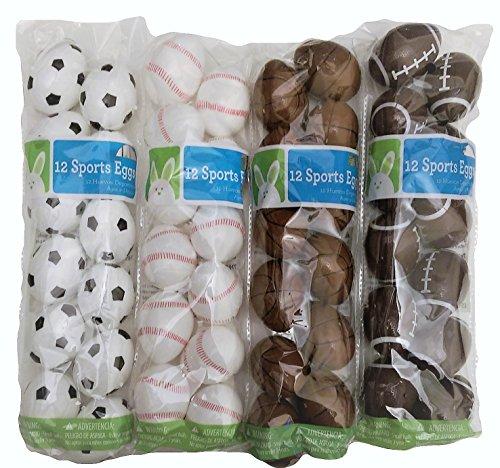Baseball, Football, Basketball & Soccer Sports Plastic Eggs for Easter Hunts - 4 Packages of 12 Each Sport