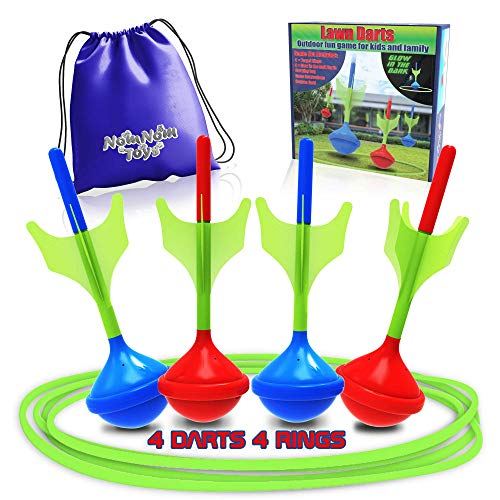 NOMNOM TOYS, Glow in The Dark Lawn Darts Game Set. Fun Outdoor Game for Family & Kids. 4 Target Rings, 4 Soft Tip Lawn Darts, Drawstring Carrying Bag. Ring Toss Yard Game Gift for Adult & Teenagers