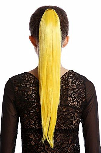 WIG ME UP - Srosy-C2B Extension natte queue de cheval nouveau système peigne et serre-tête élastique jaune clair lisse 55 cm