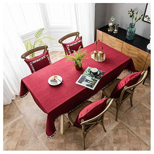 Mantel Rectangular Impermeable Antimanchas de Algodón y Lino, 135x165cm Mantel Mesa Lavable,Manteles Mesa Decorativo para Hogar Comedor del Cocina,Rojo